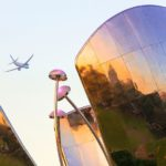 Airplane over the Floralis Generica, Buenos Aires