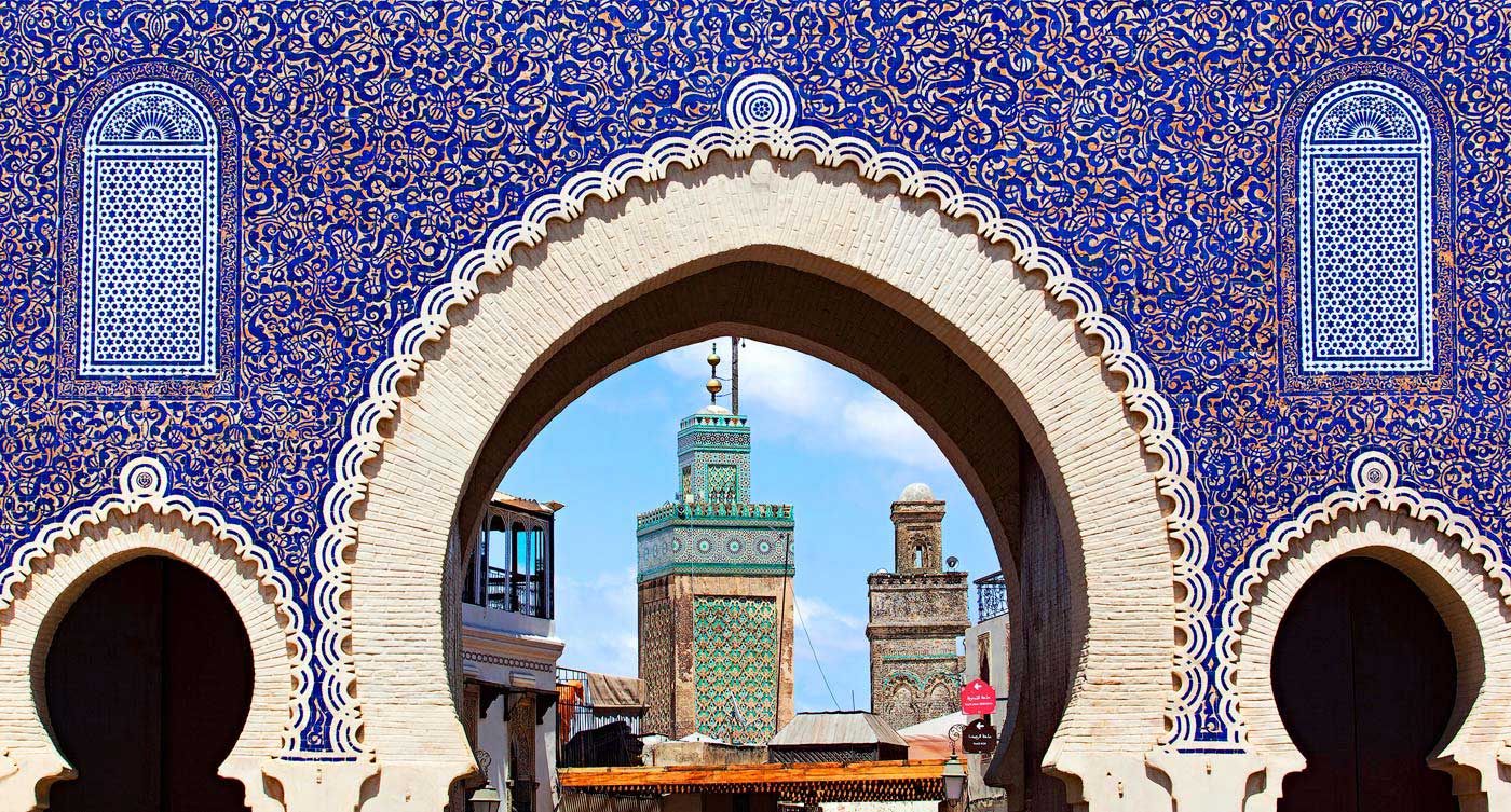 The Bab Boujloud, blue gate in Fes, Morocco