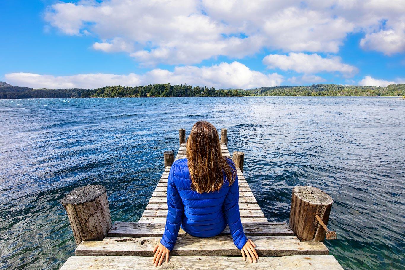 Girl on a pier in Bariloche