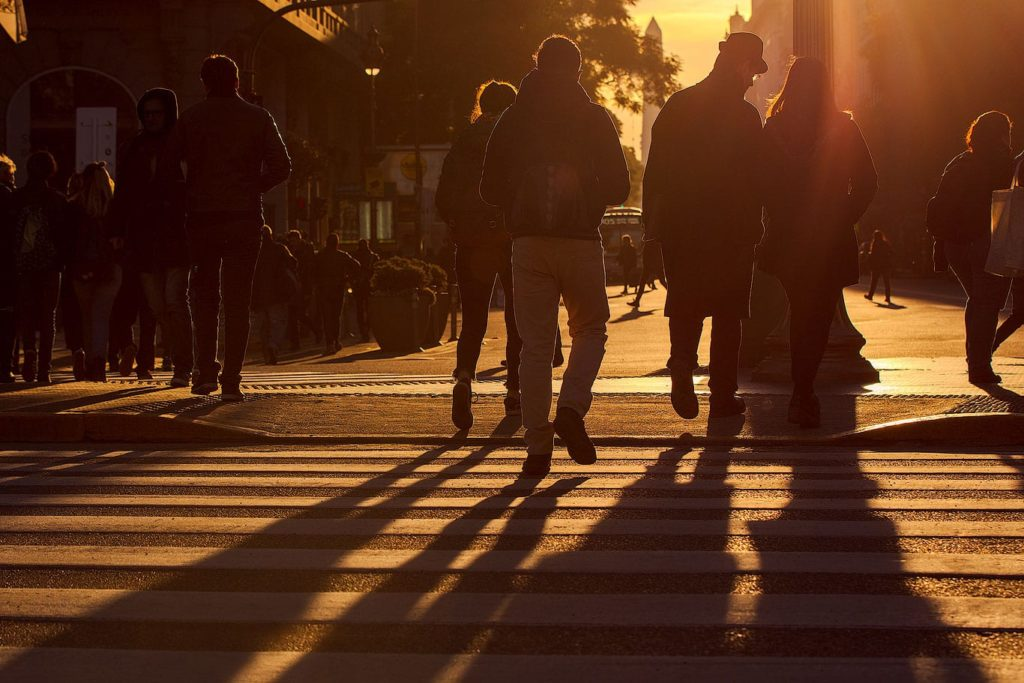 People on Diagonal Norte at sunset, Buenos Aires