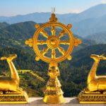 Dharmachakra, the sacred Wheel of Dharma in Namobuddha, Nepal