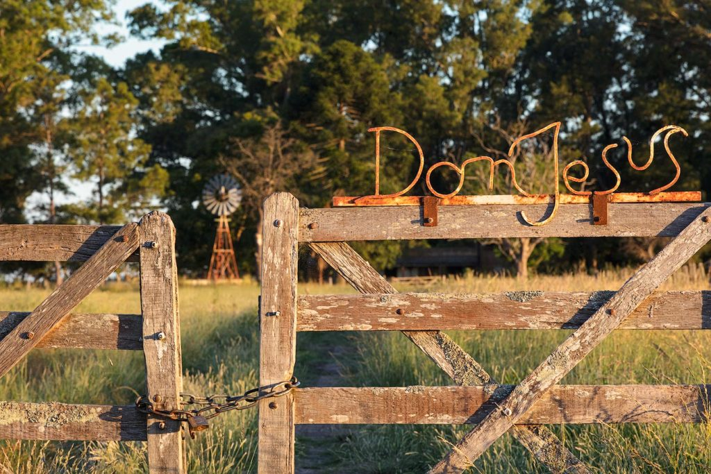 Estancia entrance in the Pampas, Argentina