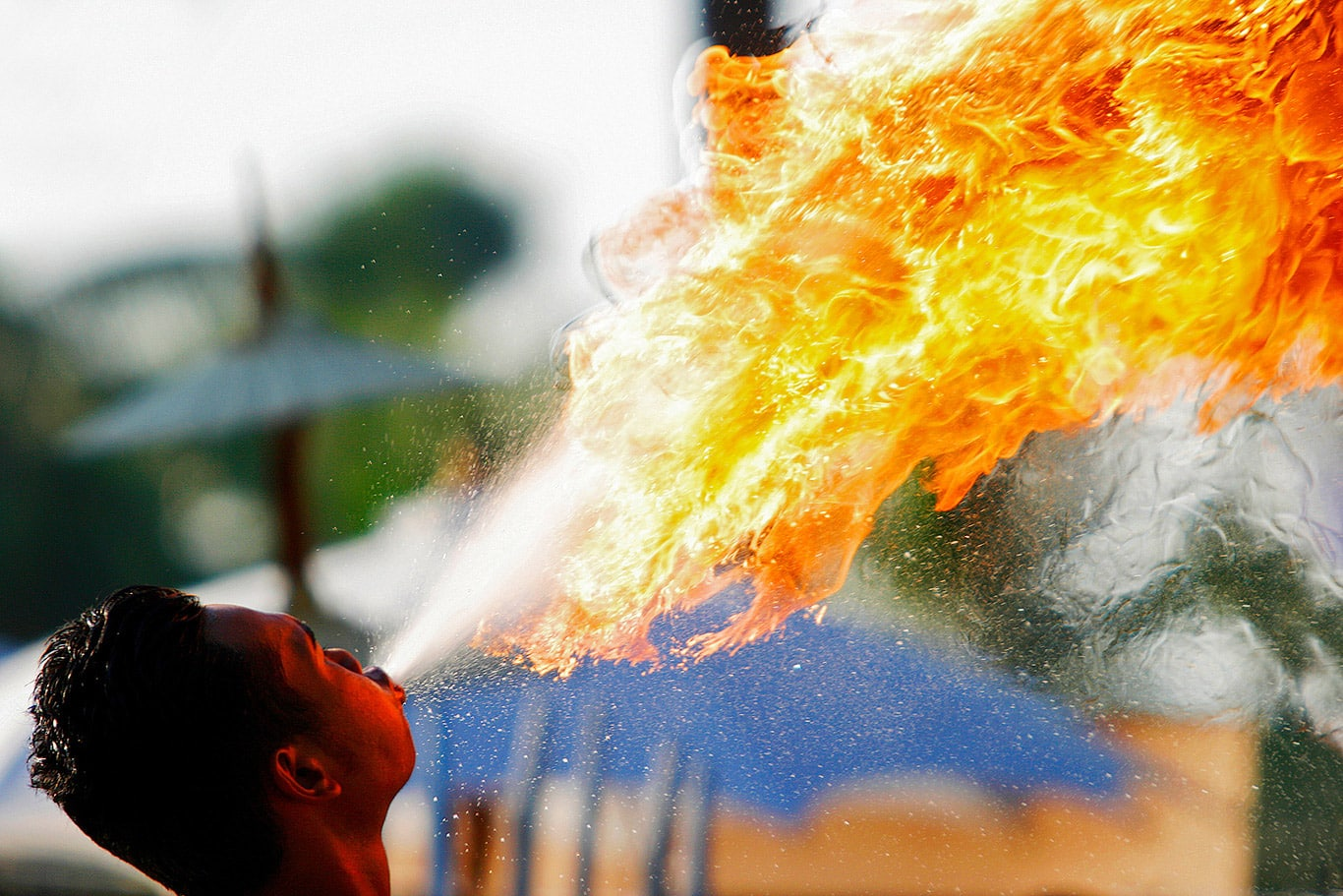 Fire breathing in Sukhothai, Thailand