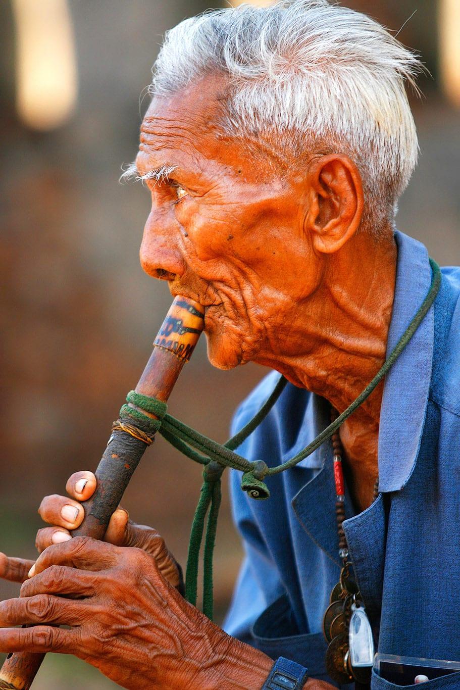Flutist in Sukhothai, Thailand