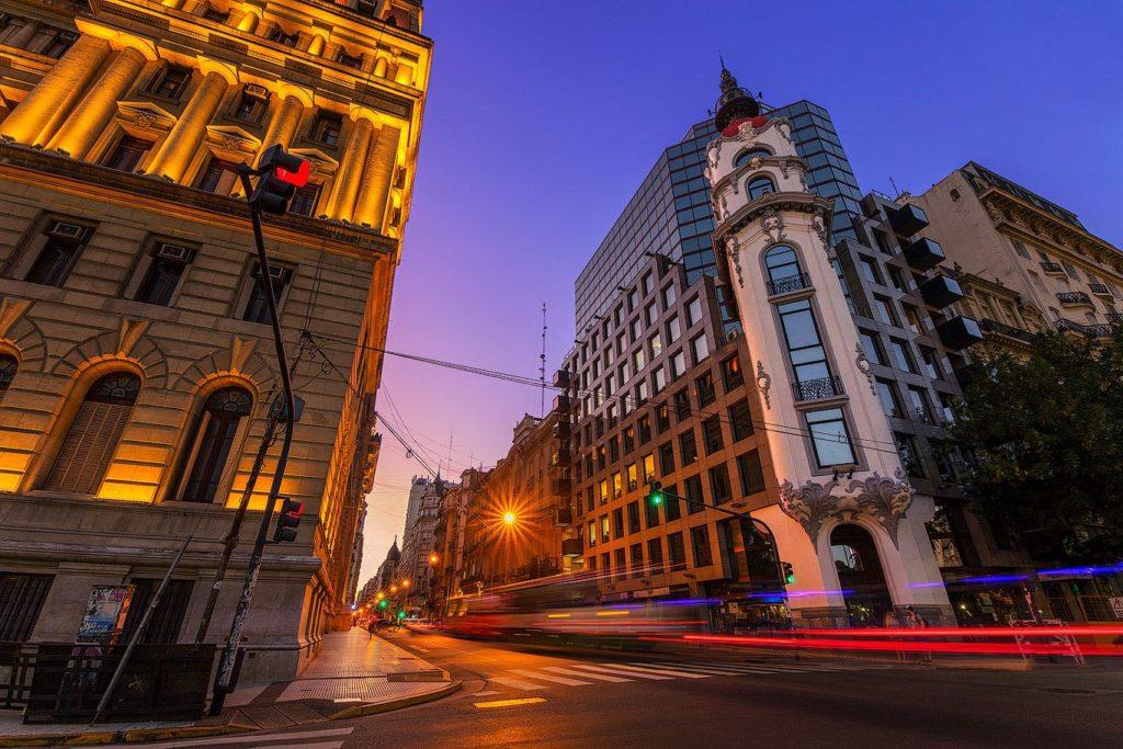 Mirador Massue & Palace of Justice at twilight, Buenos Aires