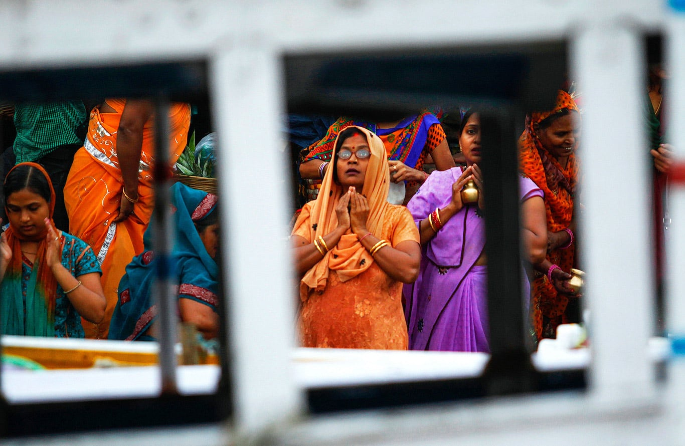 Prayer on river Ganges, Varanasi, India