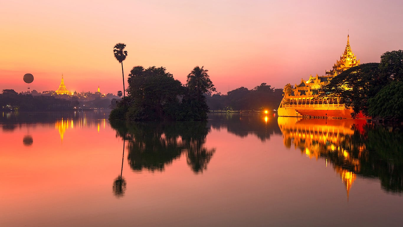 Yangon reflection on Kandawagyi lake, Burma