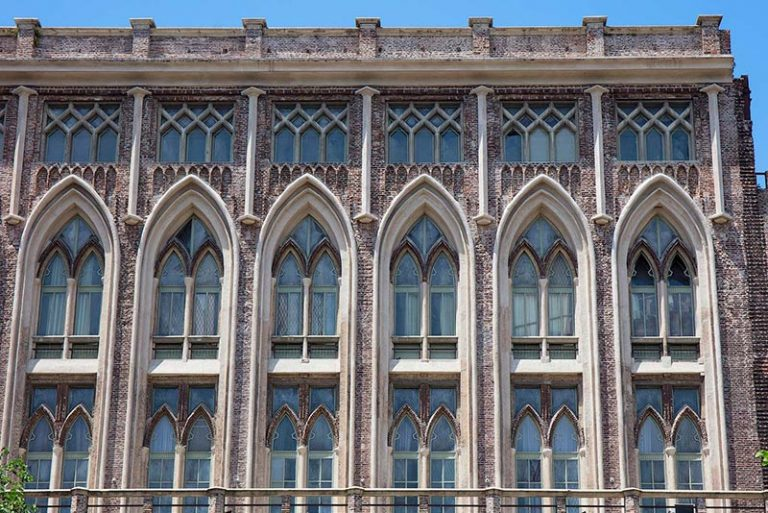 Gothic style facade of the Engineering faculty in Buenos Aires