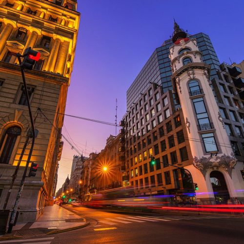 The Mirador Massue and the Palace of Justice at twilight, Buenos Aires