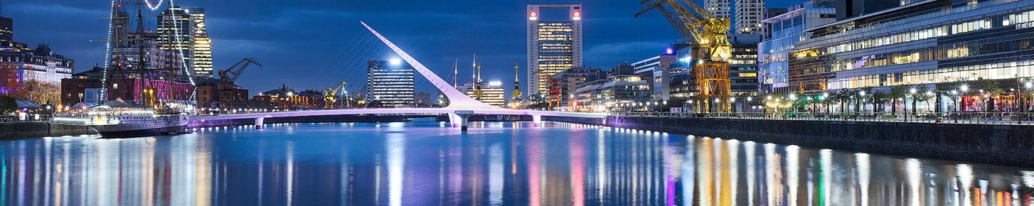 Panoramic view of Puerto Madero at twilight, Buenos Aires