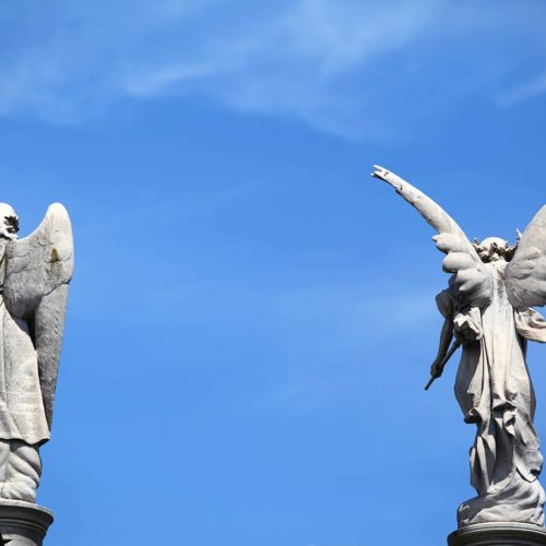 Statues of angels inside the Recoleta cementery