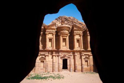 Natural frame of the monastery in Petra, Jordan
