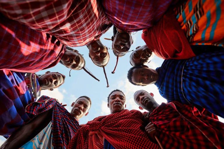 Ritratto di gruppo Masai in Tanzania