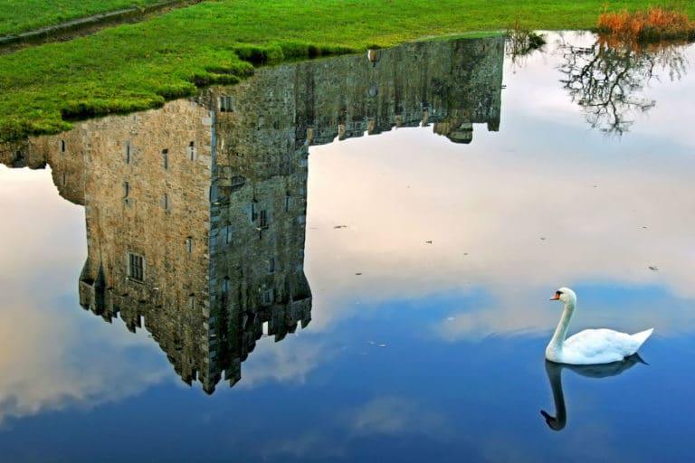 Il castello di Ross in Irlanda riflesso in un lago, Killarney